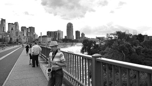 Music on the Stone Arch Bridge.