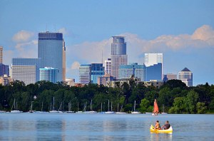 Minneapolis skyline from Thomas Beach on Lake Calhoun.